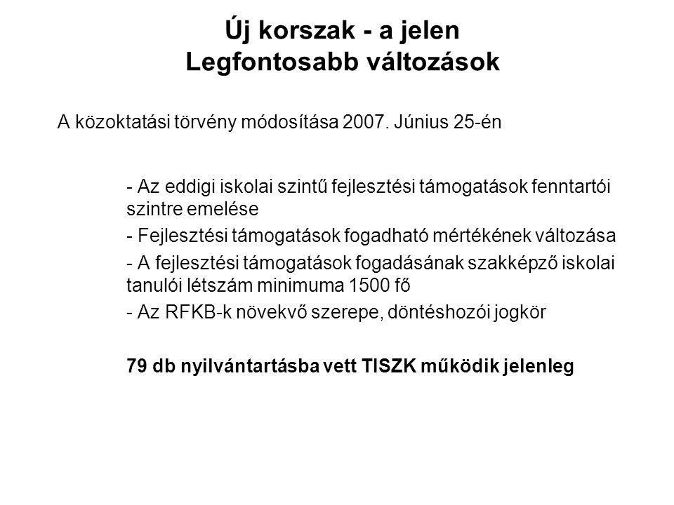 Új korszak - a jelen Legfontosabb változások A közoktatási törvény módosítása 2007. Június 25-én - Az eddigi iskolai szintű fejlesztési támogatások fe
