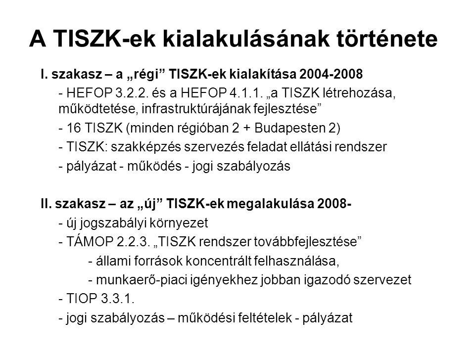 """A TISZK-ek kialakulásának története I. szakasz – a """"régi"""" TISZK-ek kialakítása 2004-2008 - HEFOP 3.2.2. és a HEFOP 4.1.1. """"a TISZK létrehozása, működt"""