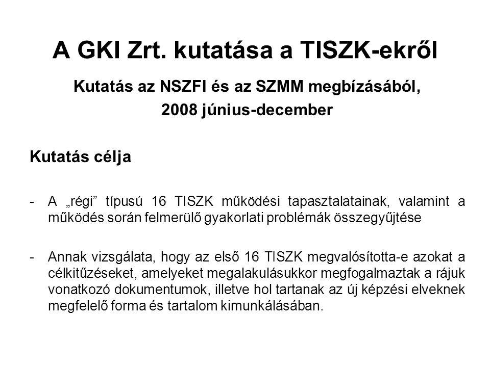 """A GKI Zrt. kutatása a TISZK-ekről Kutatás az NSZFI és az SZMM megbízásából, 2008 június-december Kutatás célja -A """"régi"""" típusú 16 TISZK működési tapa"""