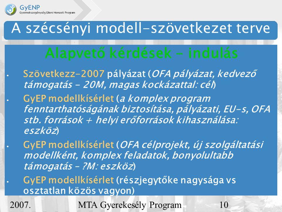2007. december 5. MTA Gyerekesély Program10 A szécsényi modell-szövetkezet terve  Szövetkezz-2007 pályázat (OFA pályázat, kedvező támogatás - 20M, ma