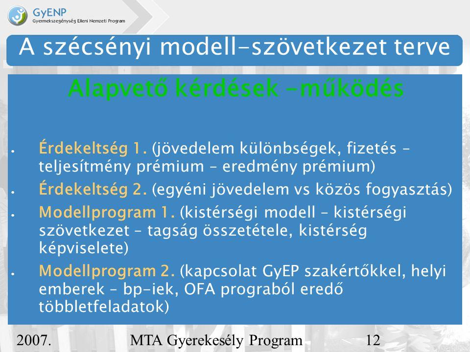 2007. december 5. MTA Gyerekesély Program12 A szécsényi modell-szövetkezet terve  Érdekeltség 1.