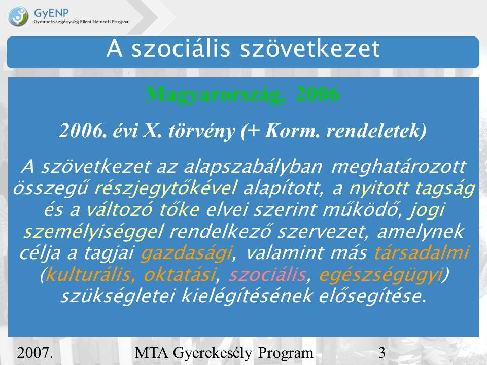 2007. december 5. MTA Gyerekesély Program3 A szociális szövetkezet Magyarország, 2006 2006.