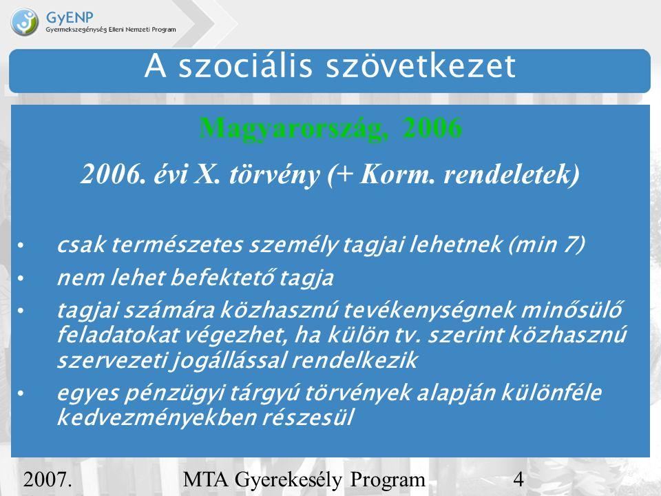 2007. december 5. MTA Gyerekesély Program4 A szociális szövetkezet Magyarország, 2006 2006.