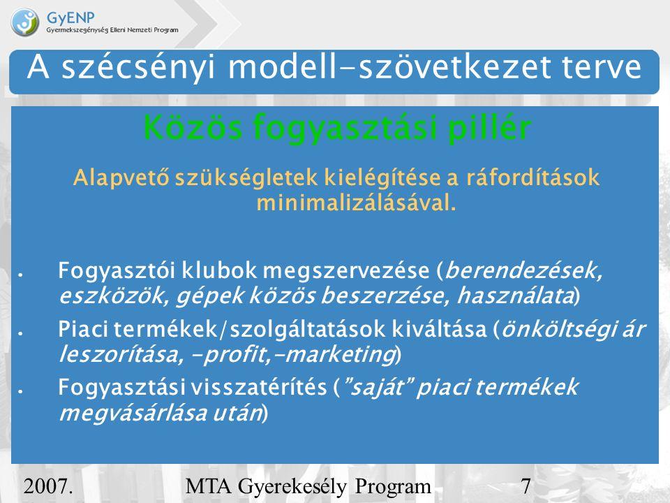 2007. december 5. MTA Gyerekesély Program7 A szécsényi modell-szövetkezet terve Alapvető szükségletek kielégítése a ráfordítások minimalizálásával. 