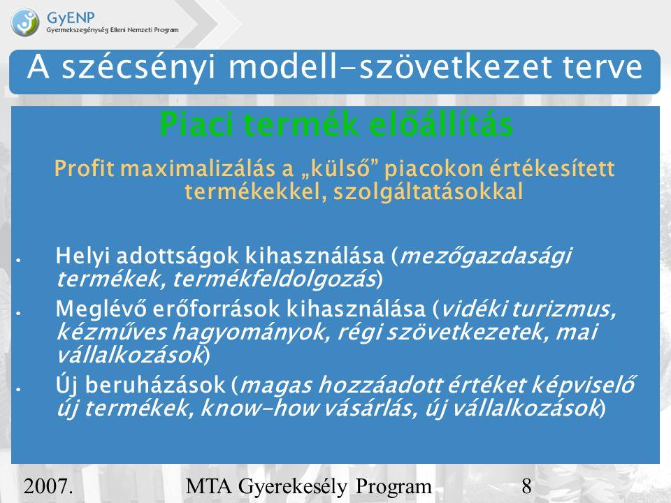 """2007. december 5. MTA Gyerekesély Program8 A szécsényi modell-szövetkezet terve Profit maximalizálás a """"külső"""" piacokon értékesített termékekkel, szol"""