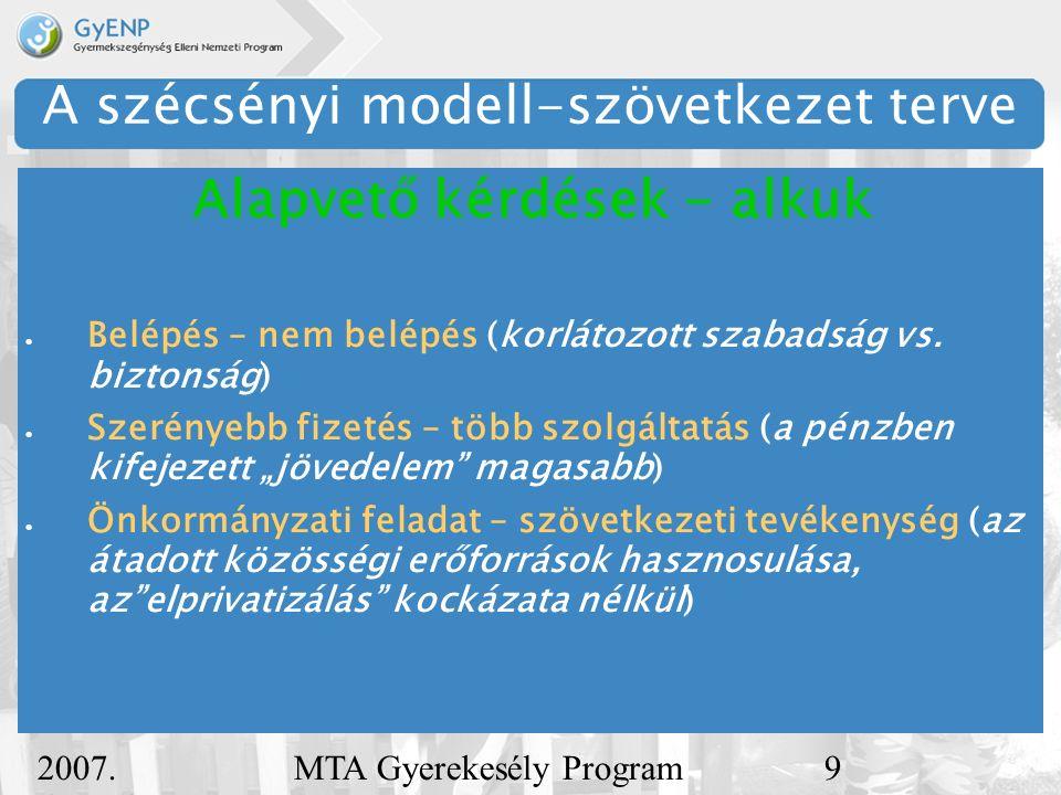 2007. december 5. MTA Gyerekesély Program9 A szécsényi modell-szövetkezet terve  Belépés – nem belépés (korlátozott szabadság vs. biztonság)  Szerén