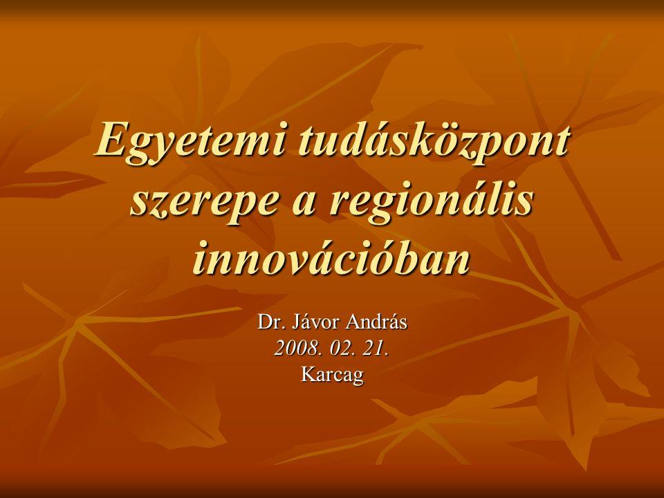 Egyetemi tudásközpont szerepe a regionális innovációban Dr. Jávor András 2008. 02. 21. Karcag