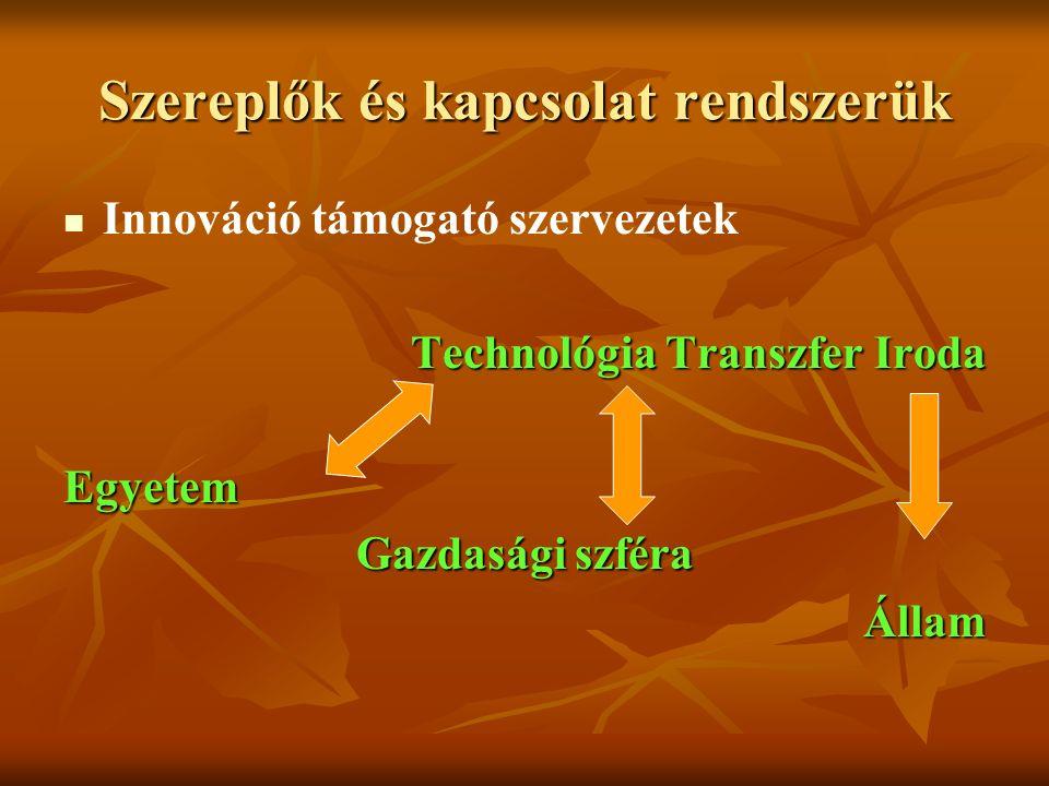 Szereplők és kapcsolat rendszerük Innováció támogató szervezetek Technológia Transzfer Iroda Egyetem Gazdasági szféra Állam