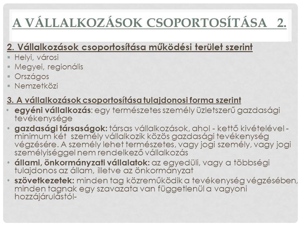 A VÁLLALKOZÁSOK CSOPORTOSÍTÁSA 2. 2.