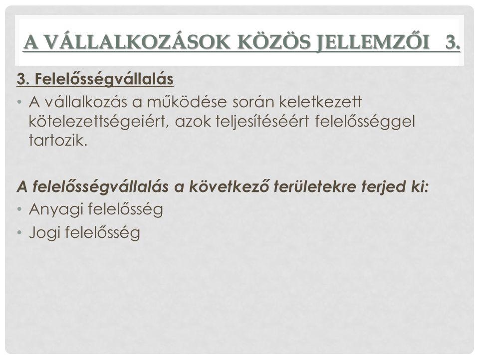 A VÁLLALKOZÁSOK KÖZÖS JELLEMZŐI 3. 3.