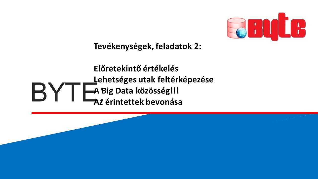 BYTE: Tevékenységek, feladatok 2: Előretekintő értékelés Lehetséges utak feltérképezése A Big Data közösség!!! Az érintettek bevonása