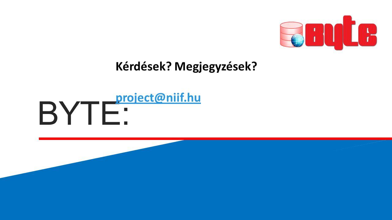 BYTE: Kérdések? Megjegyzések? project@niif.hu project@niif.hu