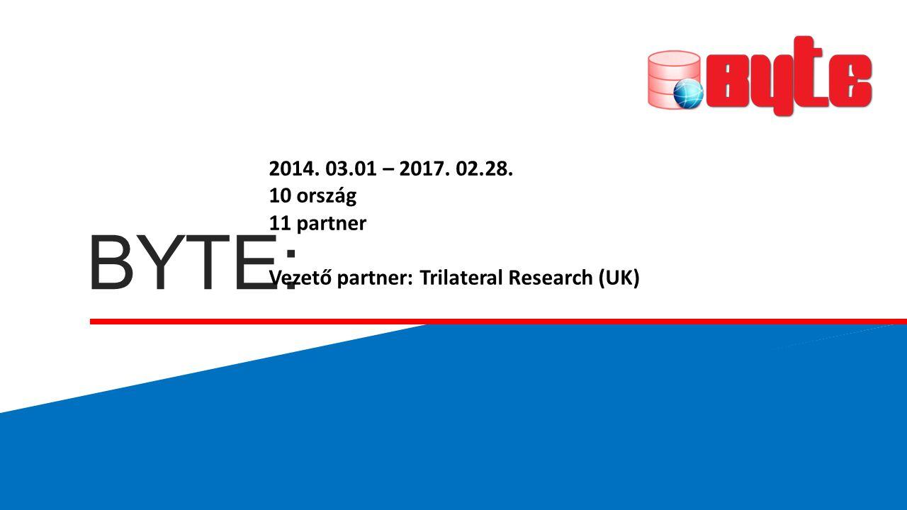 BYTE: 2014. 03.01 – 2017. 02.28. 10 ország 11 partner Vezető partner: Trilateral Research (UK)