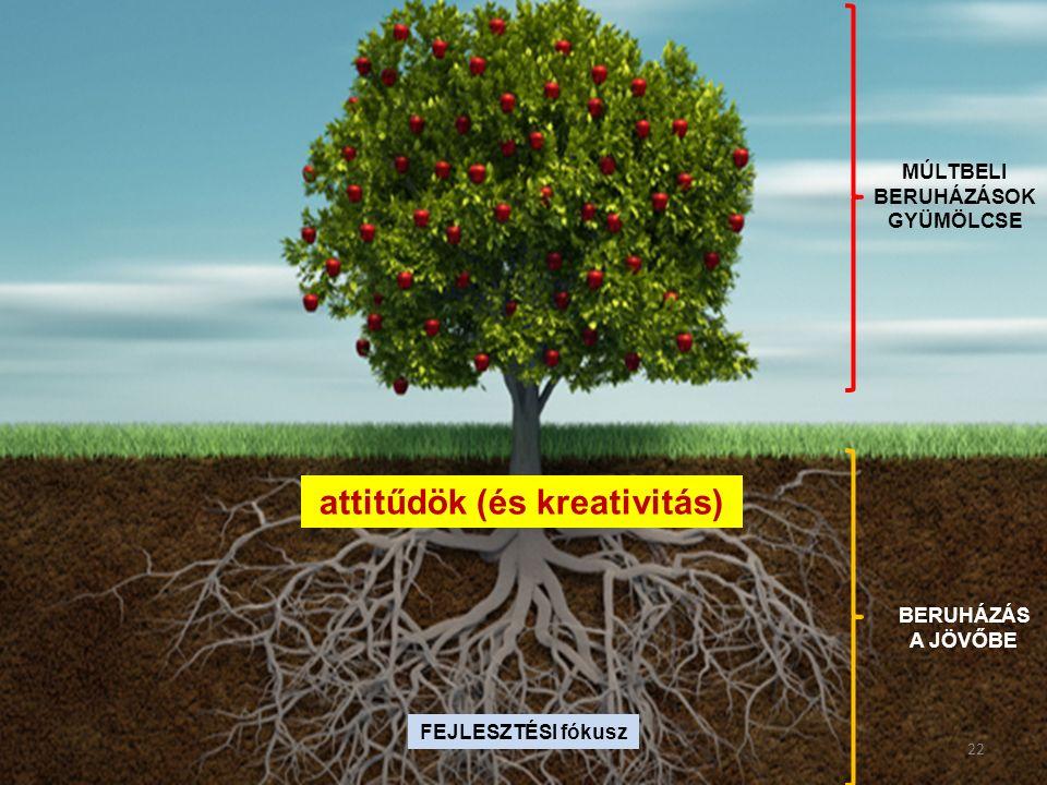FEJLESZTÉSI fókusz BERUHÁZÁS A JÖVŐBE MÚLTBELI BERUHÁZÁSOK GYÜMÖLCSE attitűdök (és kreativitás) 22