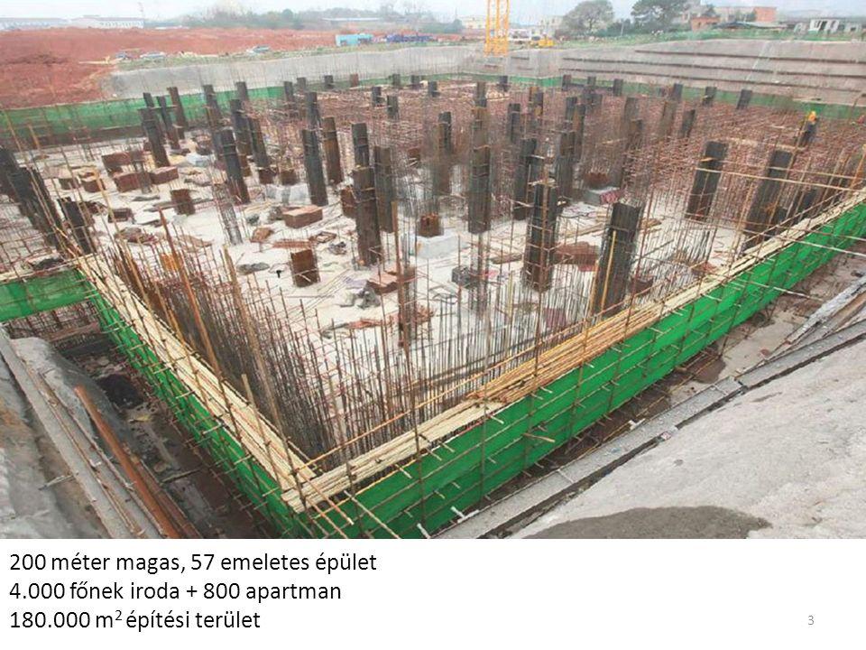 200 méter magas, 57 emeletes épület 4.000 főnek iroda + 800 apartman 180.000 m 2 építési terület 3