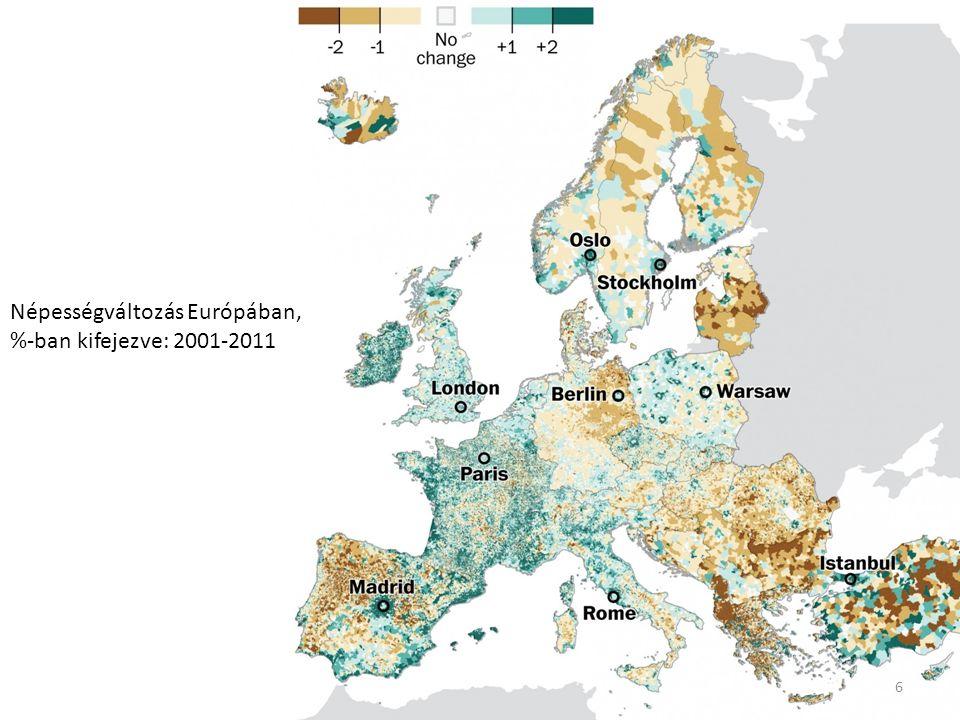 Népességváltozás Európában, %-ban kifejezve: 2001-2011 6