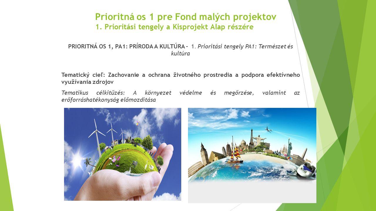 Prioritná os 1 pre Fond malých projektov 1. Prioritási tengely a Kisprojekt Alap részére PRIORITNÁ OS 1, PA1: PRÍRODA A KULTÚRA - 1. Prioritási tengel