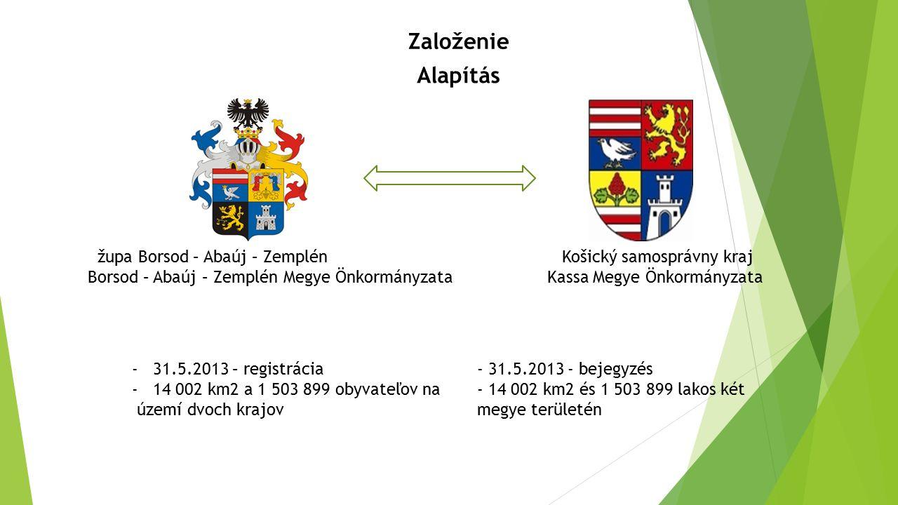 Založenie Alapítás - 31.5.2013 - bejegyzés - 14 002 km2 és 1 503 899 lakos két megye területén -31.5.2013 – registrácia -14 002 km2 a 1 503 899 obyvat