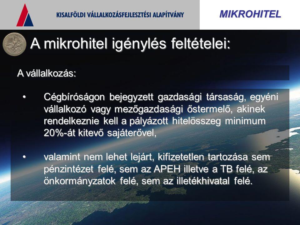 MIKROHITEL A mikrohitel igénylés feltételei: A vállalkozás: Cégbíróságon bejegyzett gazdasági társaság, egyéni vállalkozó vagy mezőgazdasági őstermelő