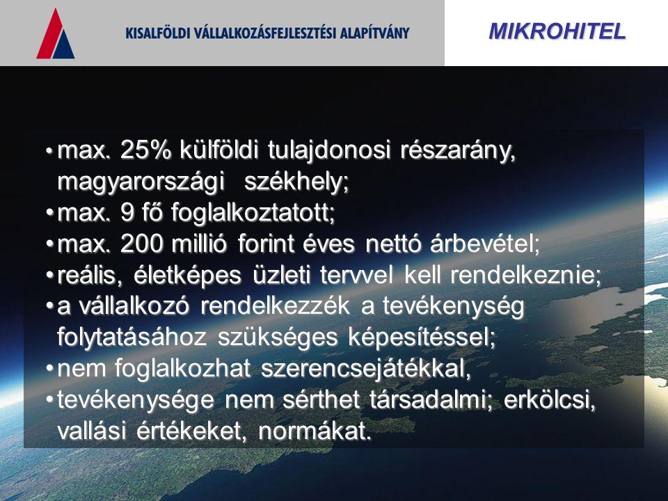 MIKROHITEL max. 25% külföldi tulajdonosi részarány, magyarországi székhely; max. 25% külföldi tulajdonosi részarány, magyarországi székhely; max. 9 fő