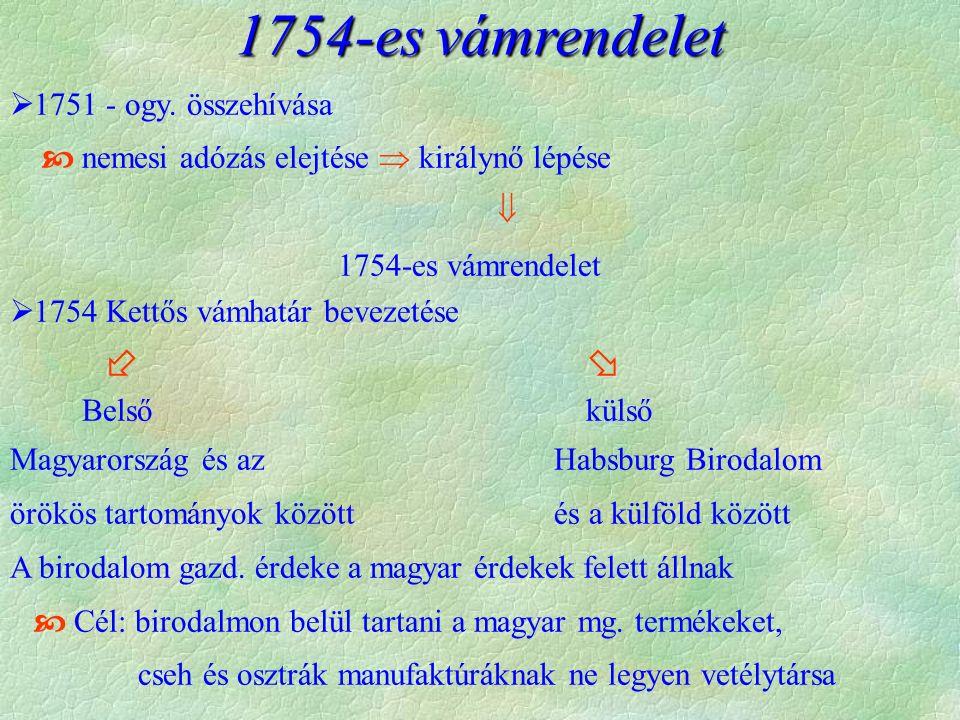 1754-es vámrendelet  1751 - ogy.
