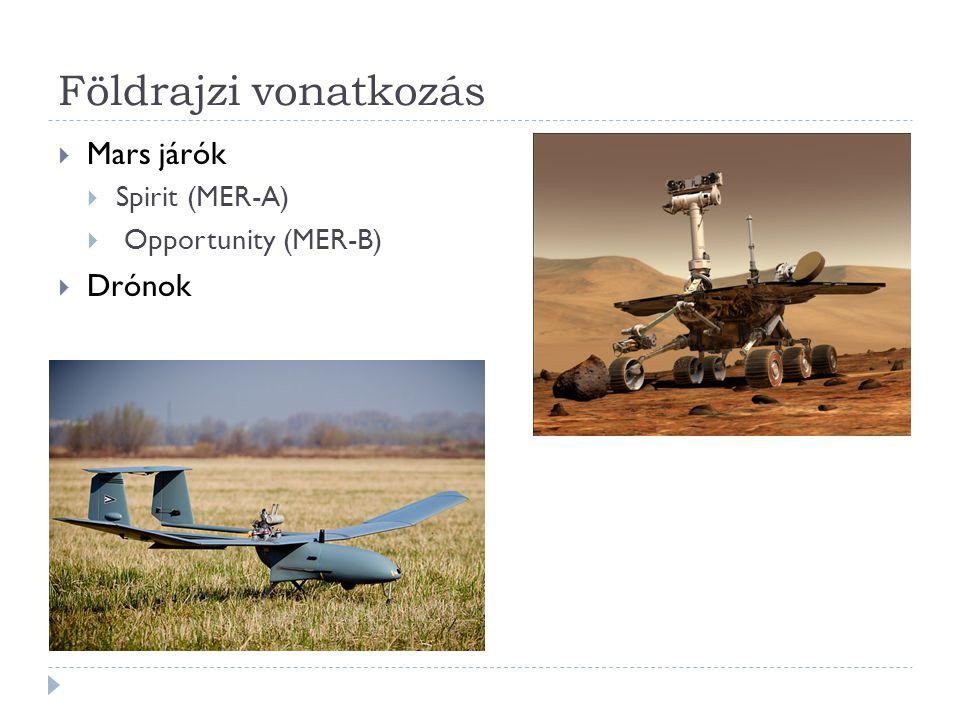 Földrajzi vonatkozás  Mars járók  Spirit (MER-A)  Opportunity (MER-B)  Drónok