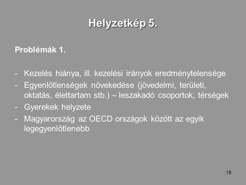 19 Helyzetkép 5. Problémák 1. -Kezelés hiánya, ill.