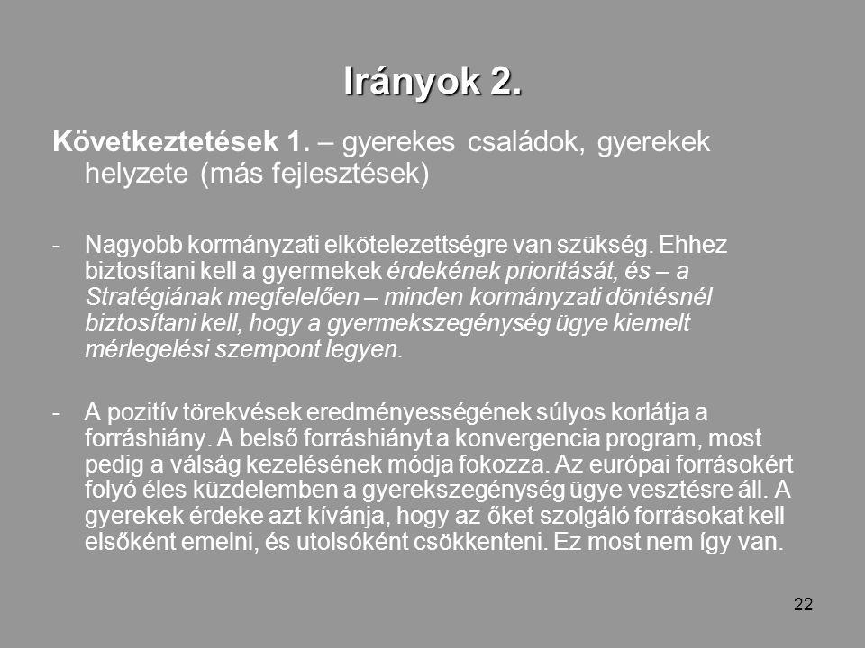 22 Irányok 2. Következtetések 1.