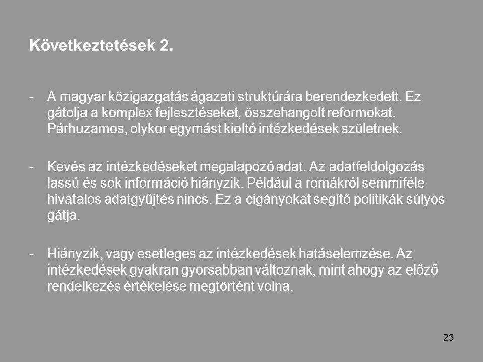 23 Következtetések 2. -A magyar közigazgatás ágazati struktúrára berendezkedett.