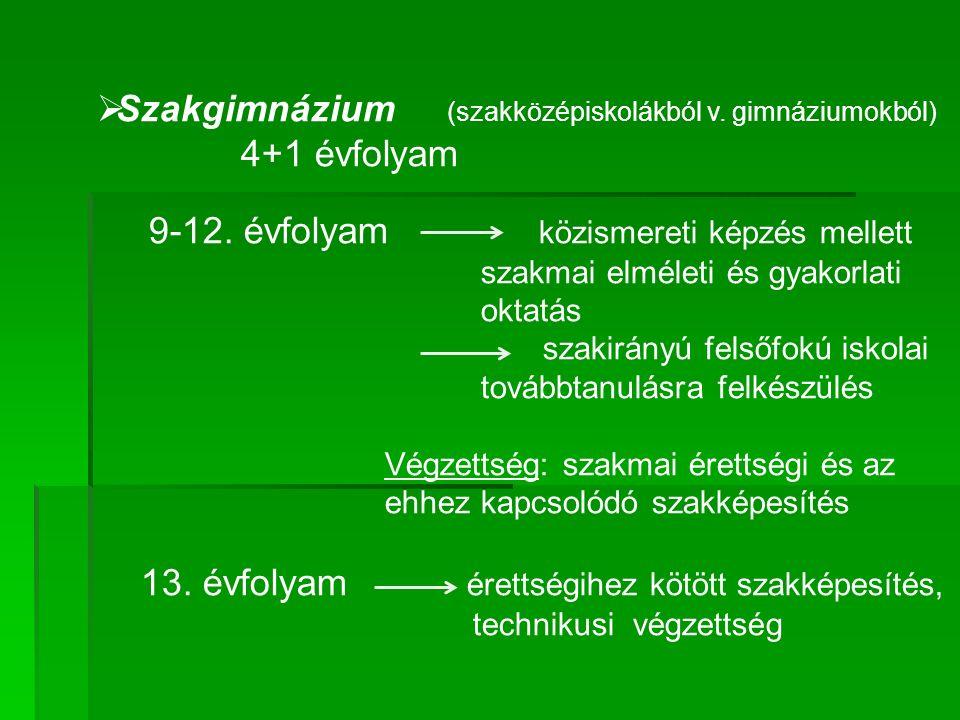  Szakgimnázium (szakközépiskolákból v. gimnáziumokból) 4+1 évfolyam 9-12.