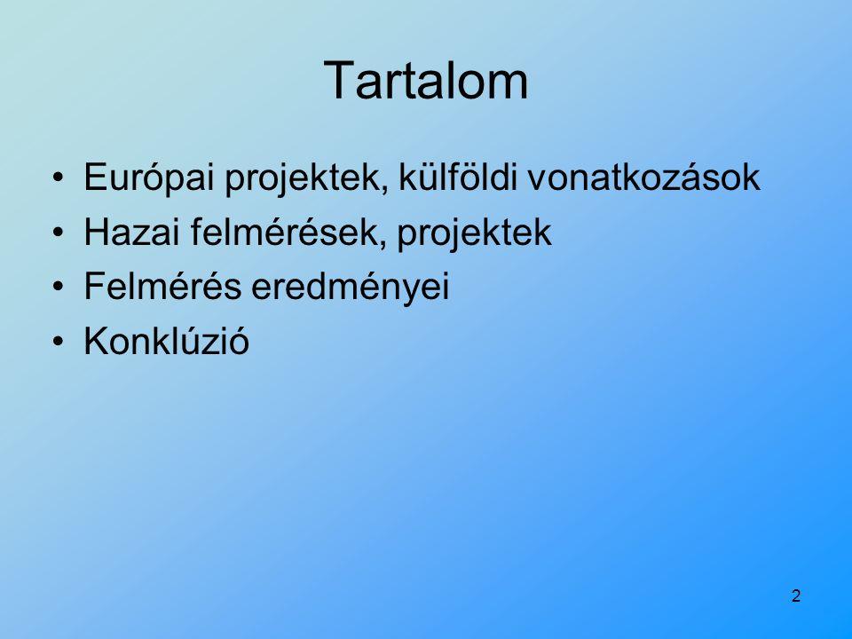 2 Tartalom Európai projektek, külföldi vonatkozások Hazai felmérések, projektek Felmérés eredményei Konklúzió