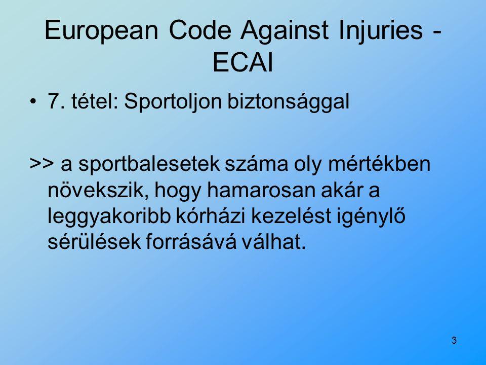 3 7. tétel: Sportoljon biztonsággal >> a sportbalesetek száma oly mértékben növekszik, hogy hamarosan akár a leggyakoribb kórházi kezelést igénylő sér