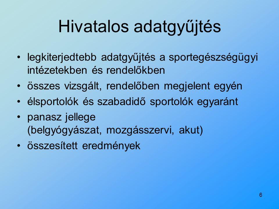 6 Hivatalos adatgyűjtés legkiterjedtebb adatgyűjtés a sportegészségügyi intézetekben és rendelőkben összes vizsgált, rendelőben megjelent egyén élspor