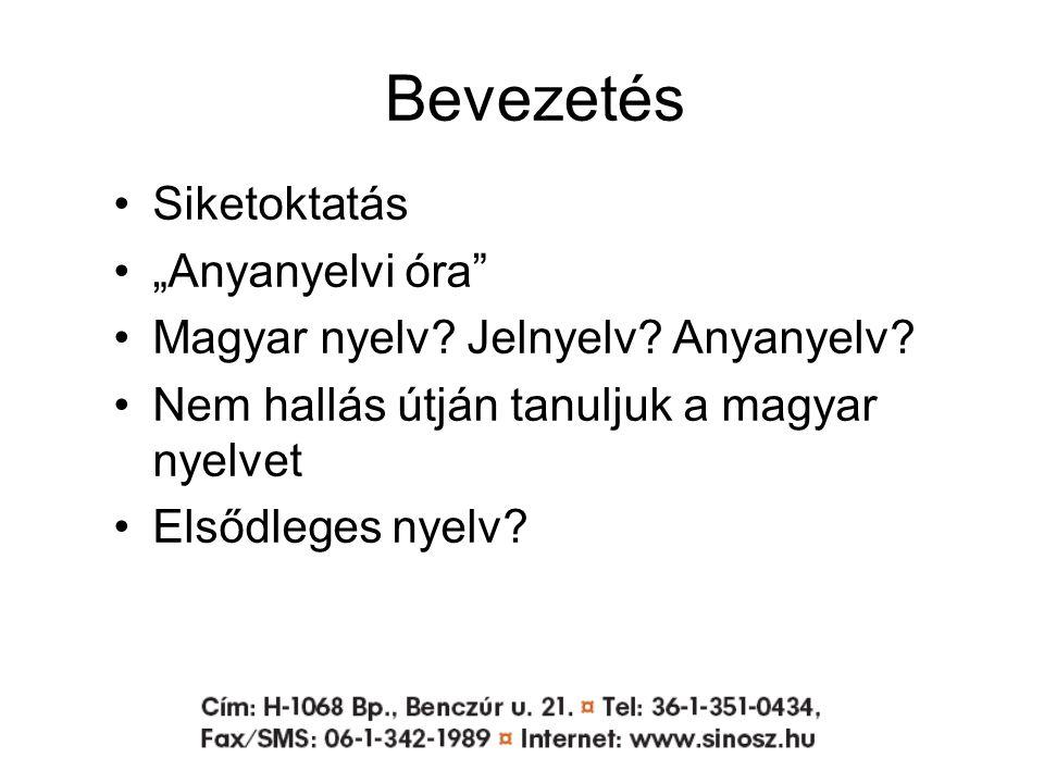 """Bevezetés Siketoktatás """"Anyanyelvi óra Magyar nyelv."""