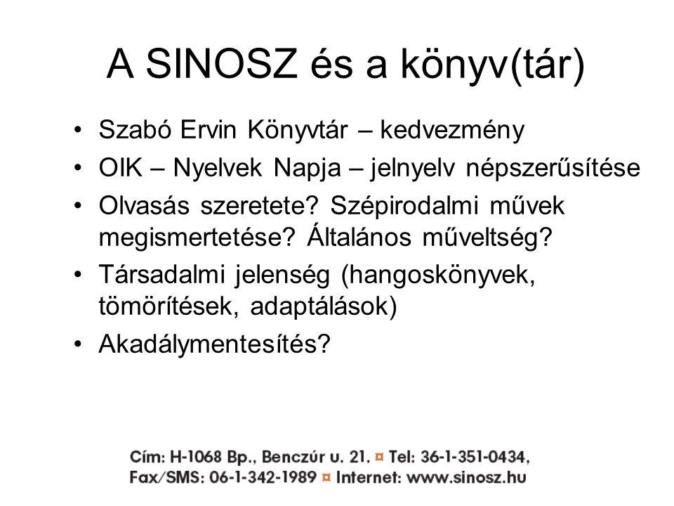 A SINOSZ és a könyv(tár) Szabó Ervin Könyvtár – kedvezmény OIK – Nyelvek Napja – jelnyelv népszerűsítése Olvasás szeretete.