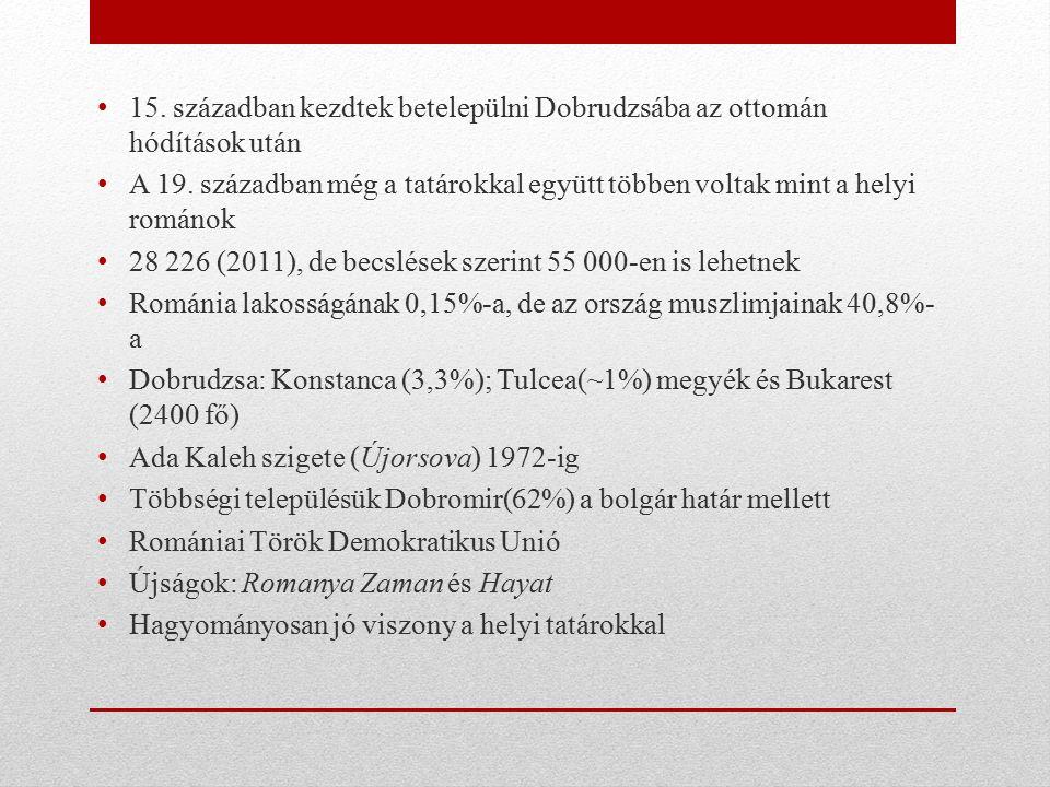 15. században kezdtek betelepülni Dobrudzsába az ottomán hódítások után A 19. században még a tatárokkal együtt többen voltak mint a helyi románok 28