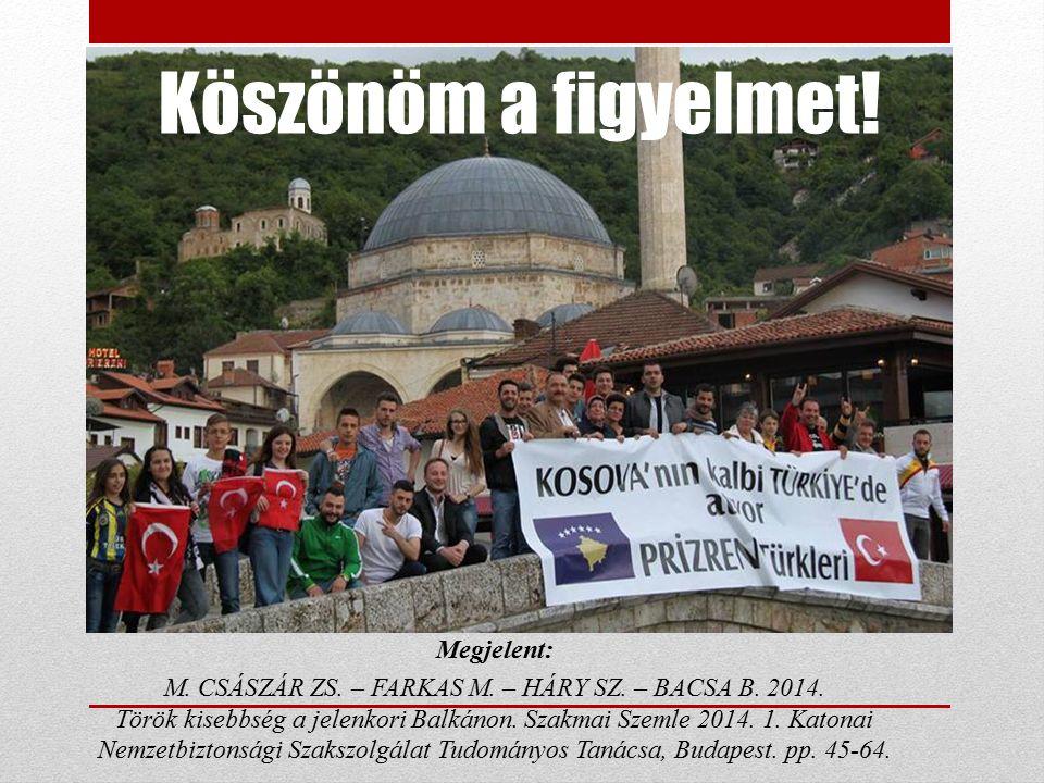 Köszönöm a figyelmet! Megjelent: M. CSÁSZÁR ZS. – FARKAS M. – HÁRY SZ. – BACSA B. 2014. Török kisebbség a jelenkori Balkánon. Szakmai Szemle 2014. 1.
