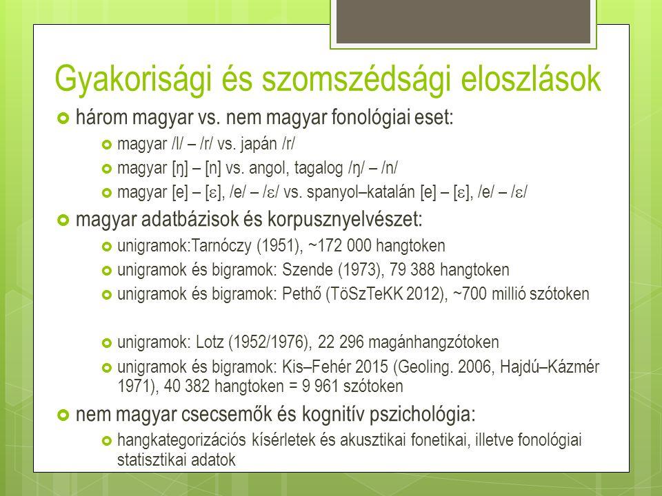 Gyakorisági és szomszédsági eloszlások  három magyar vs. nem magyar fonológiai eset:  magyar /l/ – /r/ vs. japán /r/  magyar [ŋ] – [n] vs. angol, t
