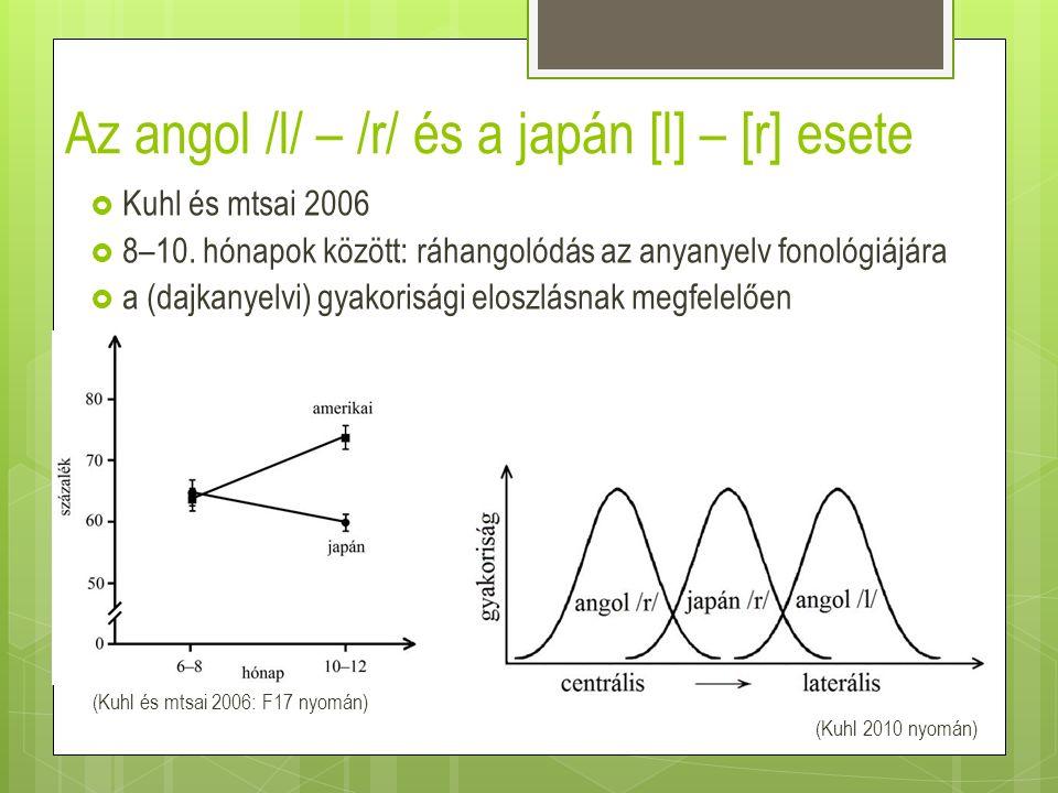 Az angol /l/ – /r/ és a japán [l] – [r] esete  Kuhl és mtsai 2006  8–10. hónapok között: ráhangolódás az anyanyelv fonológiájára  a (dajkanyelvi) g