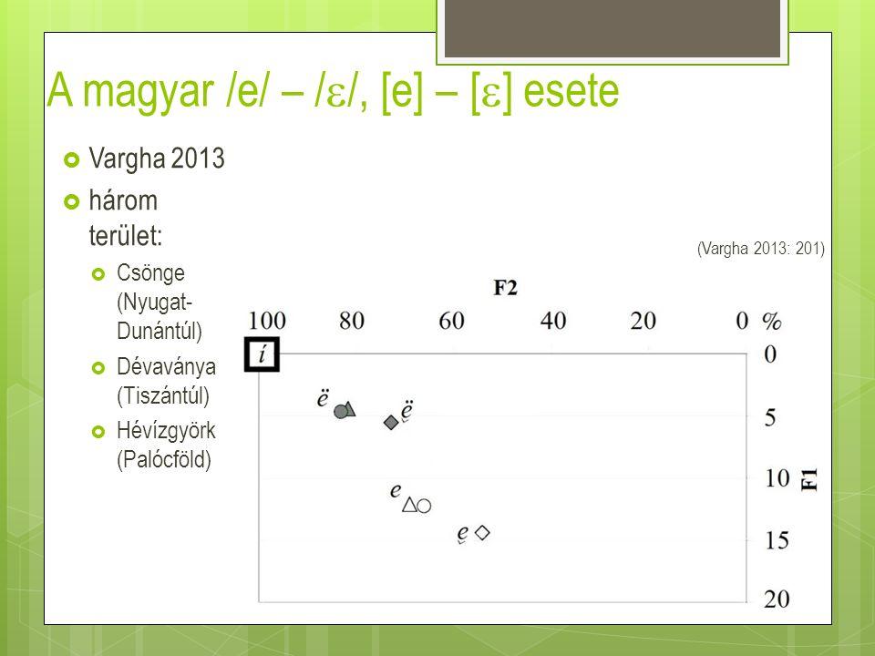 A magyar /e/ – /  /, [e] – [  ] esete  Vargha 2013  három terület:  Csönge (Nyugat- Dunántúl)  Dévaványa (Tiszántúl)  Hévízgyörk (Palócföld) (V