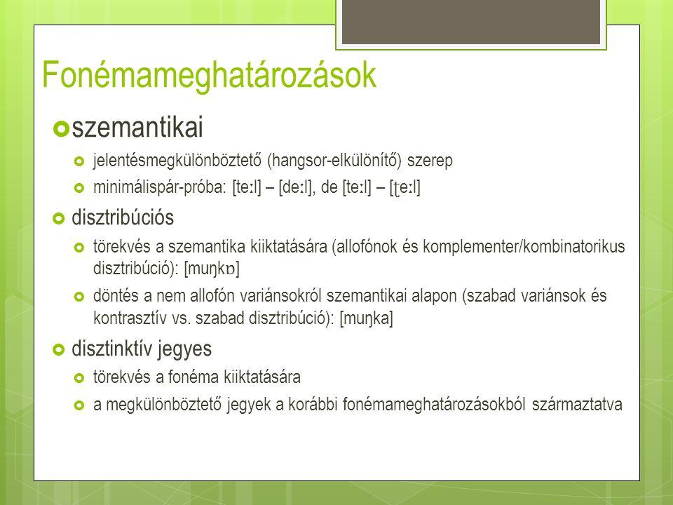 A magyar /l/ – /r/ esete  fonémák hatványfüggvény- eloszlása  nagy abszolút tokengyakoriság  relatív gyakorisági eloszlás: 60%– 40% (aránykülönbség: 20%) (Szende 1973: 30 nyomán) (Szende 1973: 33 nyomán)