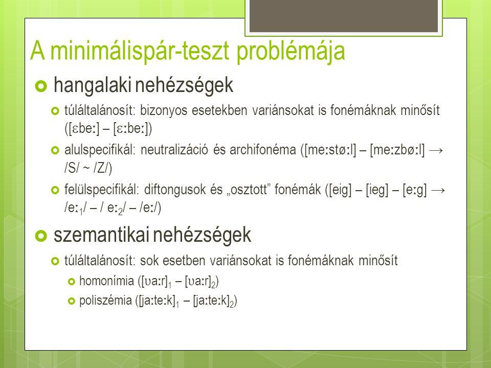 A minimálispár-teszt problémája  logikai nehézségek  eléggé kevés lehet a minimális párok száma  átlagos esetek: makrofonémák  legfeljebb néhány tucatnyi minimális pár  extrém esetek: mikrofonémák  a /dz/ minimális pár nélkül  a /d ʒ / két minimális párral ([d ʒ o ː n ɒ k] – [ ʧ o ː n ɒ k], [d ʒ oki] – [ ʧ oki])  a /c/ két minimális párral ([ ɒ c ɒ ] – [ ɒɒ ], [  c  k] – [  k])  a szóelsajátítás paradoxona  a szóhangalak elsajátítása feltételezi a fonémák ismeretét, a fonémák ismerete viszont feltételezi a szójelentések ismeretét, így a szóhangalakét is