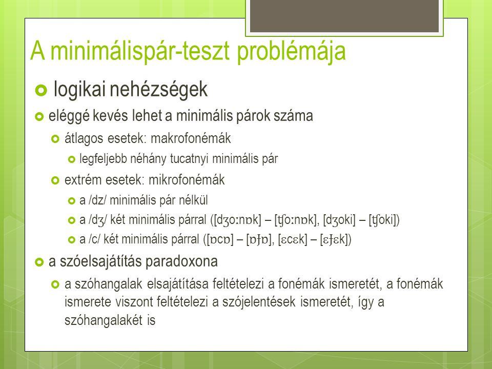 A magyar /l/ – /r/ esete  bigramok hatványfüggvény- eloszlása  bigrampárok a gyakorisági sorban (Szende 1973: 37–42 és Pethő személyes közlése alapján számítva)  átlagos relatív gyakorisági aránykülönbség: 22%
