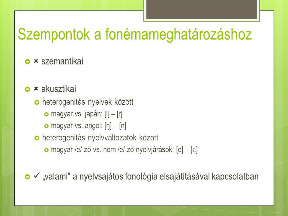 Szempontok a fonémameghatározáshoz   szemantikai   akusztikai  heterogenitás nyelvek között  magyar vs. japán: [l] – [r]  magyar vs. angol: [ŋ]