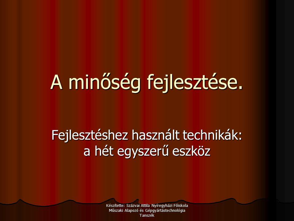 Készítette: Százvai Attila Nyíregyházi Főiskola Műszaki Alapozó és Gépgyártástechnológia Tanszék A minőség fejlesztése.