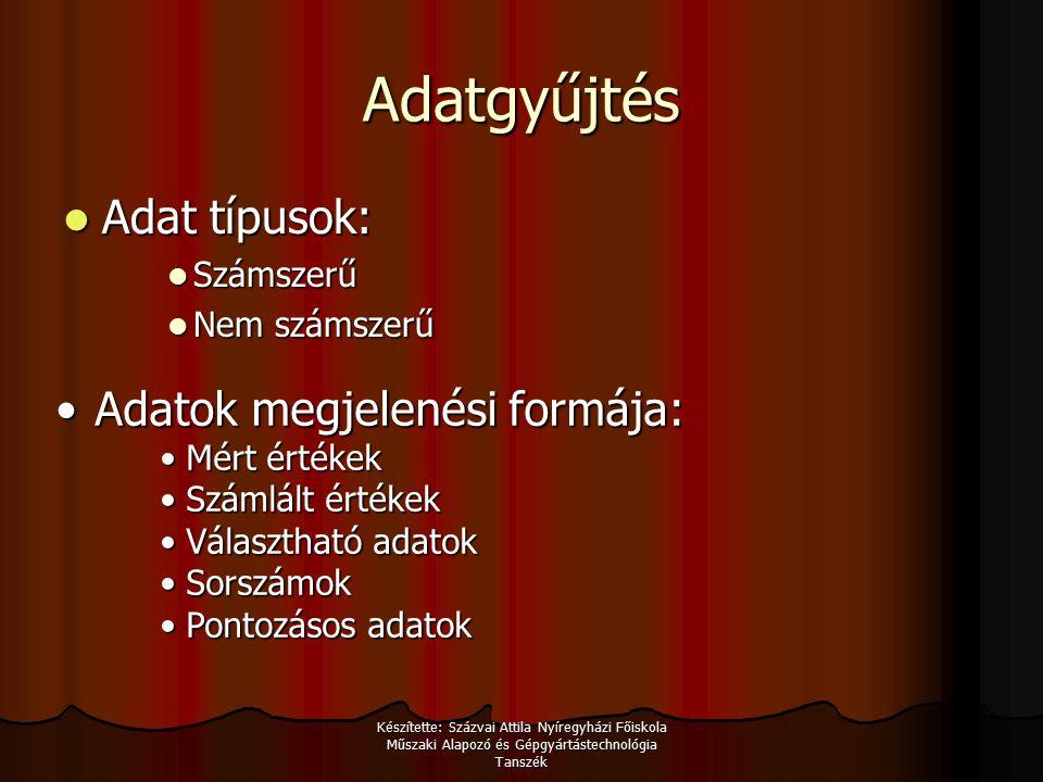 Készítette: Százvai Attila Nyíregyházi Főiskola Műszaki Alapozó és Gépgyártástechnológia Tanszék Adat diagramok 1.