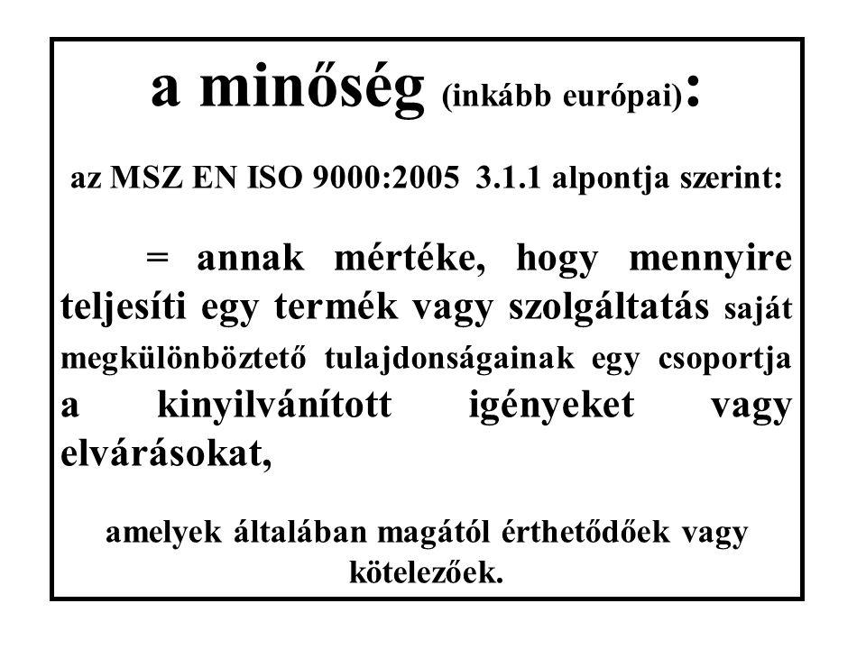 az EN ISO 9001:2008/4.-8.fejezete: 4. Minőségmenedzsment rendszer 5.