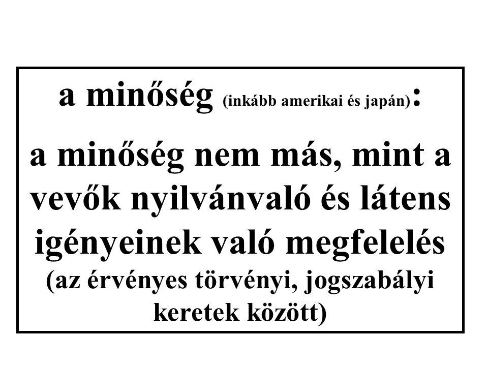 a minőség (inkább amerikai és japán) : a minőség nem más, mint a vevők nyilvánvaló és látens igényeinek való megfelelés (az érvényes törvényi, jogszabályi keretek között)