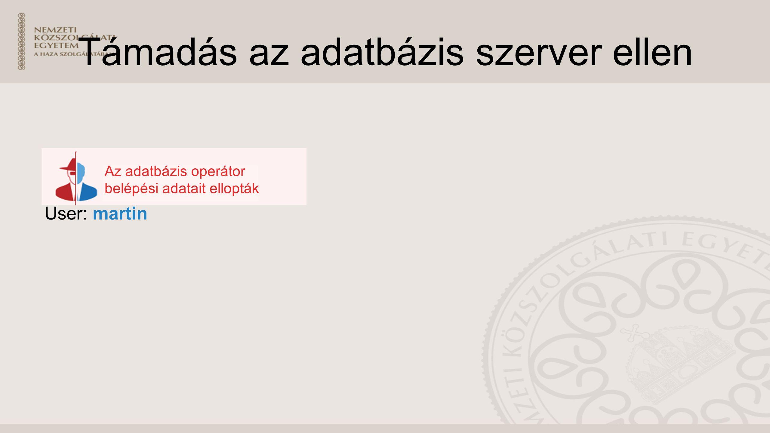 Támadás az adatbázis szerver ellen User: martin Az adatbázis operátor belépési adatait ellopták
