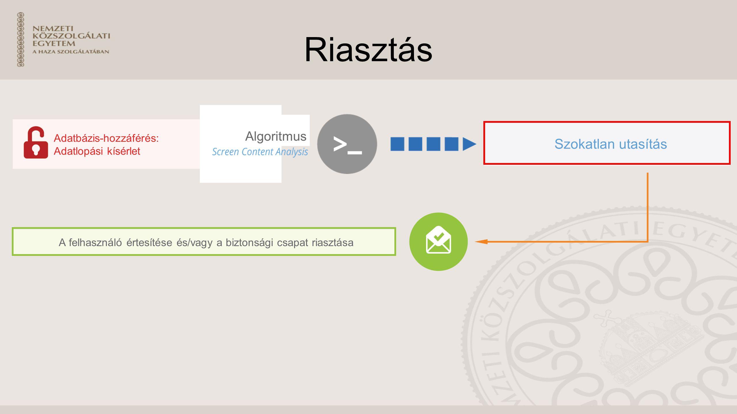Riasztás Szokatlan utasítás Adatbázis-hozzáférés: Adatlopási kísérlet Algoritmus A felhasználó értesítése és/vagy a biztonsági csapat riasztása